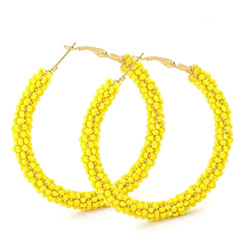 Beaded Hoop Earrings for Women - Handmade Big Circle Beaded Earrings - Idea for Business, Wedding, Party or Daily Wear (Yellow Happy) - Eternal Circle Earrings