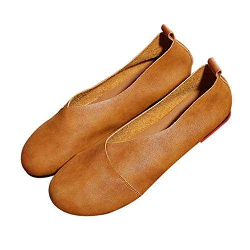 Fashion Shallow Yopew 2019 Shoes 38 Mouth Flats Handmade Casual Women Art Vintage Microfiber Shoes P6CPxwq