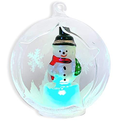 LED Snowman Christmas Tree Ornament - Glass Globe Ornament with Lighted Snowman Inside - LED Glass Ornaments