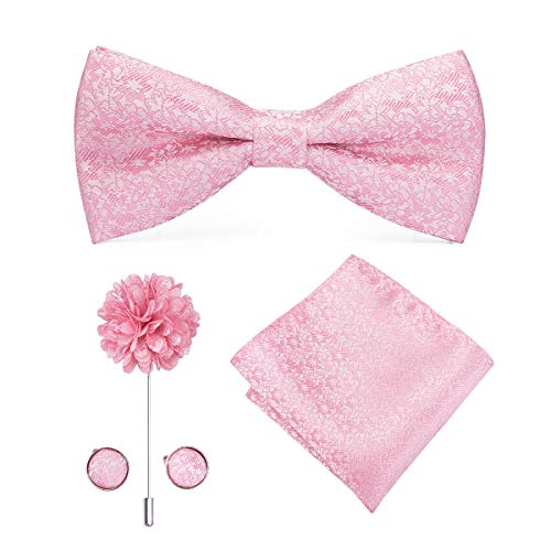 (Dubulle Pre Tied Pink Bow Tie Lapel Pin and Pocket Square Set with Cufflinks)