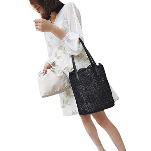 Numkuda 2 in 1 Floral Lace Handbag Women Beach Messenger Bag Tote Boho Shoulder Bag (Black)