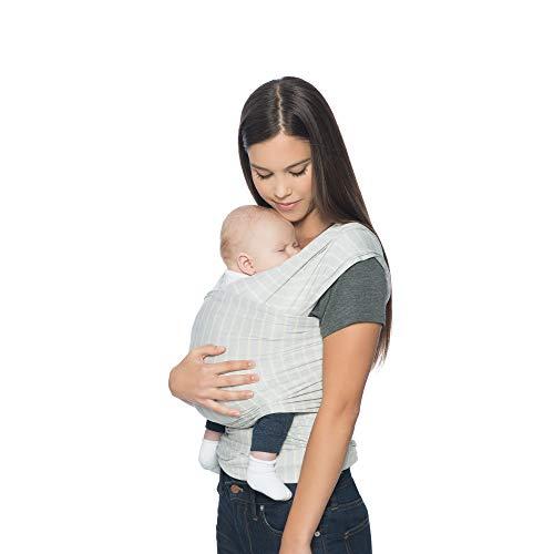 Ergobaby Aura Baby Wrap Carrier, Newborn to 25 lbs (0-36 Months), Grey - Grey Baby Stripe