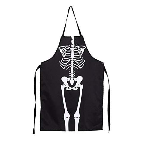 ELEC TECH Halloween Skeleton Apron Funny Skeleton Spooky Waterproof Oil-Proof Printing Pockets Apron Unisex Kitchen Bib Apron Bar Dance Party Horror Dress