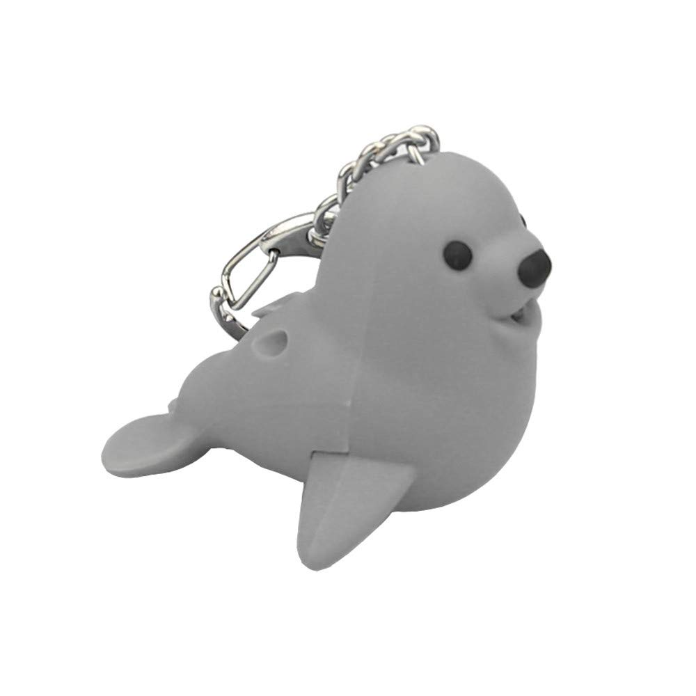 Kasien LED Key Chain, New Fashion Cute Lovely Cartoon Seal LED White Light Flashlight Keychain Keyring with Sound (Gray)