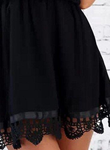 Azbro Mujer Vestido Mini Volantes Fuera de Hombro de Encaje Color Sólido negro
