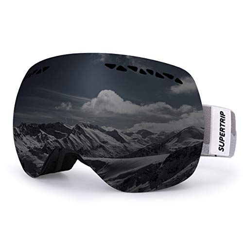 Supertrip Ski Snowboard Goggles for Men & Women Over The Glasses Snow Goggles Anti Fog 100% UV Protection Double Lens Interchangeable Lens for Skiing