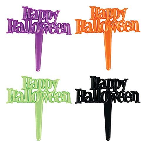 Happy Halloween Pearlized Script Cupcake Picks - 24 pc