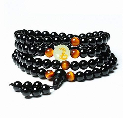 Yoga Black Onyx Men 6mm 108 Beads Strand Bracelets Luminous Natural Stones Tiger Eyes Buddha ()