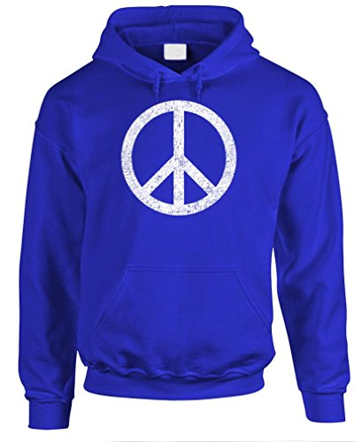 Groovy Love Peace Sign (PEACE SIGN - retro 70's groovy 60's love - Mens Pullover Hoodie, L, Royal)
