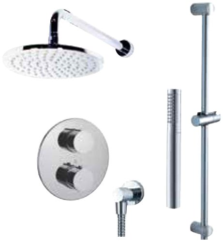 Fluid Faucets FT2RD-WALL Round Thermostatic Shower Kit with Wall-Mounted Shower Arm and Hand shower, Chrome, 1-Pack