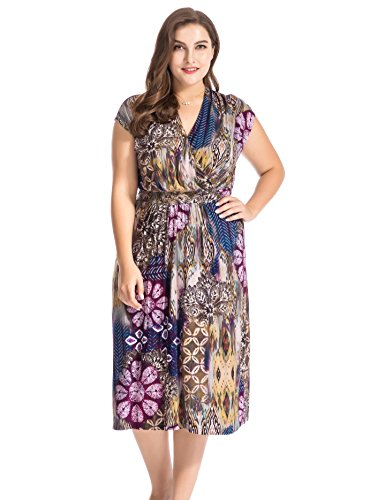 Printed Cap Sleeve Dress - Chicwe Women's Plus Size Floral Printed Cap Sleeves Dress with Waist Belt - Casual and Work Dress 24