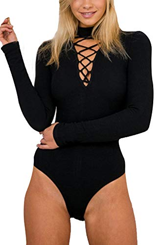 Mulisky Womens Halter V Neck Bandage Hollow Out Long Sleeve Short Bodysuit Top L Black