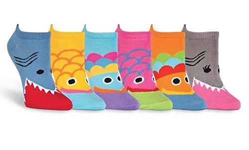 K. Bell Women's Soft No Show Casual Basic 6-Pack Low Cut Ankle Socks (Wide Mouth Fish) Women Fish