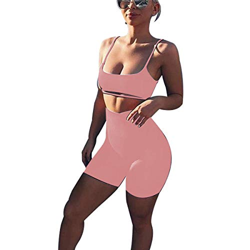 LUFENG Women's Suit Two Pieces Set Sexy Sleeveless Strapless Crop Top and Shorts Set Dark Pink (Cotton Suit Pink)