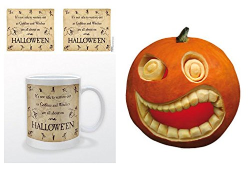Set: Halloween, Goblins And Witches Photo Coffee Mug (4x3 inches) And 1 Halloween, Sticker Adhesive Decal (4x4 inches) ()