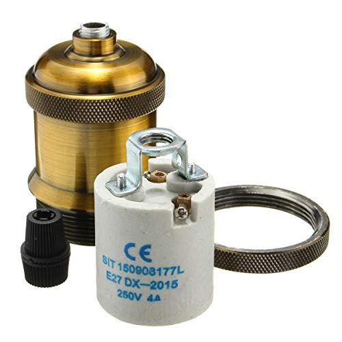 Light Sockets, E26/ E27 Vintage Industrial Edison Pendant Ceramics Light Socket Brass Finished