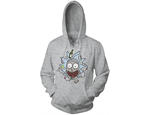 Ripple Junction Rick and Morty Adult Unisex Atomic Rick Head Pull Over Fleece Hoodie SM Ash Grey ()