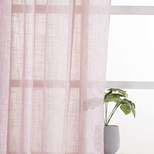 VISIONTEX Sheer Curtains Faux Linen Rod Pocket Window Curtains for Living Room 54 x 84 Inch Set of 2 Curtain Panels, Wine Red
