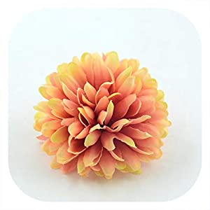 Memoirs- 5PCS 7cm Chrysanthemum Artificial Silk Flower Head for Home Wedding Party Decoration Scrapbooking DIY Hydrangea Flowers Wall,Orange 109