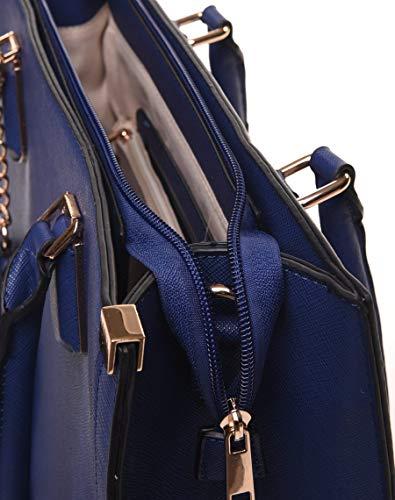 Format De Bleu lycéenne Femme A4 Strié Cours Ville Accepté Porté de Sac Simili cabas Cuir Grand Etudiante bras Livan® Main Avant tAqzR1w