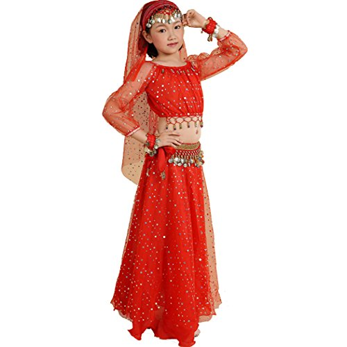 [Astage Girl`sElegant Belly Dance Set Golden Waist Chain Red L] (Childrens Salsa Costumes)