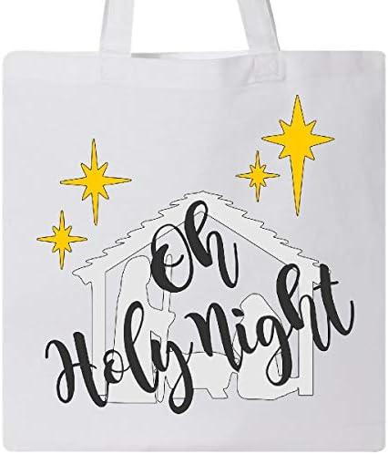 Inktastic Oh Holy Night Natividad de Navidad con estrellas amarillas Bolsa de tela