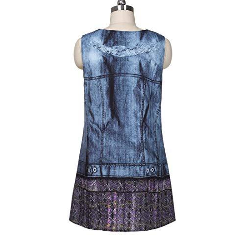 Impression Style Fonc dnudes de Plage de Bleu Dessus Sexy Robe de des Courte Bohemian Jupe Femme Mini paules OSYARD Plus Jupe Choix 1zA4SS