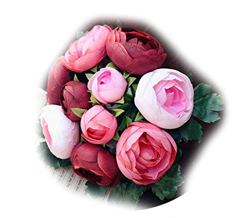 Carton Packaging 1 Bunch Bridal Bridesmaid Wedding Tea Rose Bouquet Artificial Flowers Home Party Decorative,Wine Red -