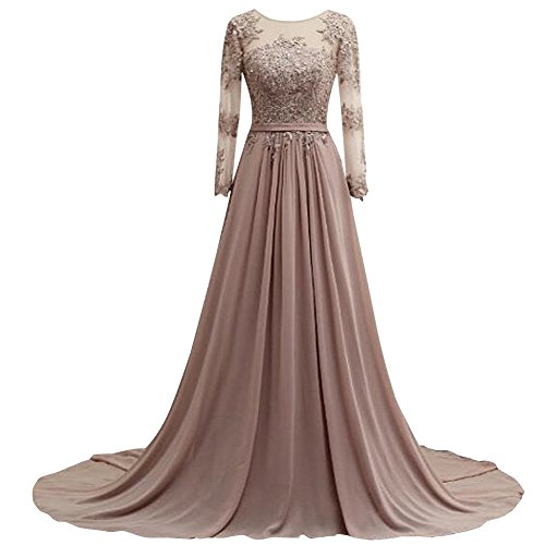 Long Bridal Gold Evening Sleeves Chiffon Lace Dresses Formal Bess Prom Women's 7fwd4EE