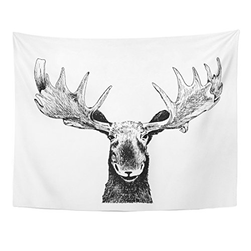 Emvency Tapestry Original Black White Pen Animal Sketch of Funny Wild Moose Head Antlers Ear Face Eyes and Nose for Fun Home Decor Wall Hanging for Living Room Bedroom Dorm 60x80 Inches