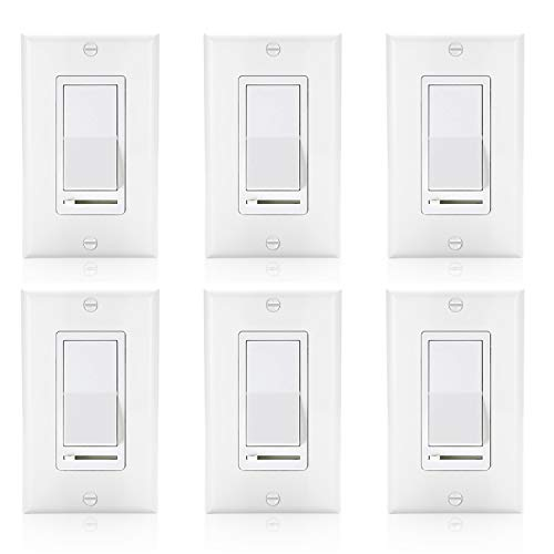 Slide Dimmer Switch 3 Way - [6 Pack] BESTTEN Decorative Rocker Light Dimmer Switch with Horizontal Slider & Side Adjuster for Incandescent or Halogen Bulbs, CFL and LED Dimmable Lamps, Decor Wall Plate Included, UL Listed, White