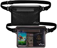 AiRunTech Waterproof Pouch with Waist Strap (2 Pack) | Beach Accessories Best Way to Keep Your Phone and Valua