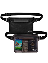 AiRunTech Waterproof Pouch with Waist Strap (2 Pack) | Beach Accessories Best Way to Keep Your Phone and Valuables Safe and Dry | Perfect for Boating Swimming Snorkeling Kayaking Beach Pool Water Parks