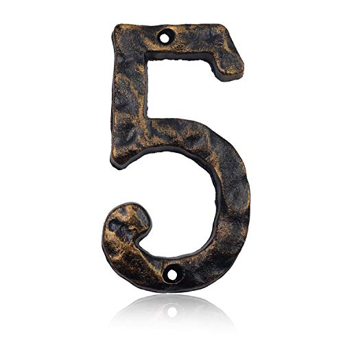 (6 Inch House Address Numbers- Solid Cast Iron Metal Door Gate Number- Unique Hammer Appearance with Individual Irregular Handcraft Antique Brass Finish (Number)