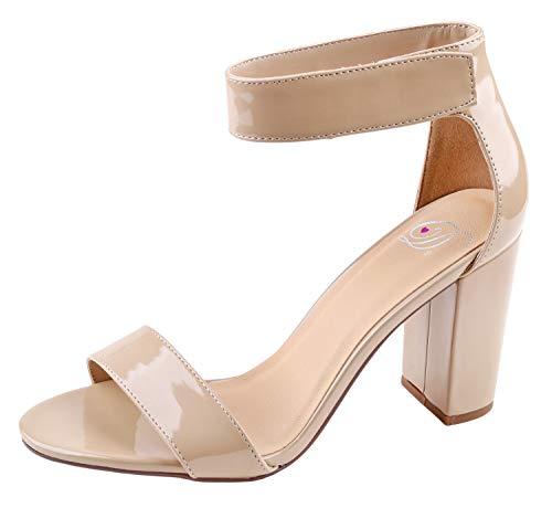 Delicious Women's Rosela Open Toe High Heel Ankle Strap Sandal Dark Beige Pat 7.5 M US