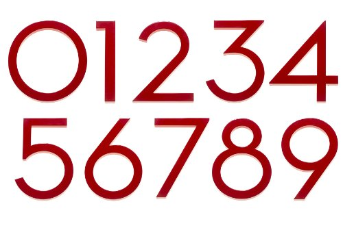 Modern House Number Red Color Aluminum Modern Font (Number 1) by Moderndwellnumbers.com (Image #1)