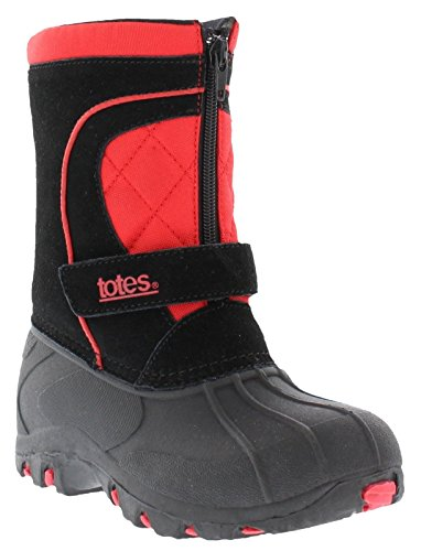 totes Bradley Snow Boots for Boys | Waterproof Suede Upper, Rubber Grip Sole Winter Boots for Kids Size-1 M US Black/Red