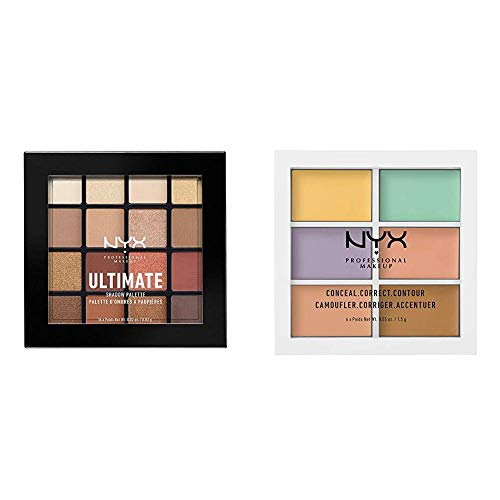 NYX PROFESSIONAL MAKEUP Make Up Ultimate Eyeshadow Palette Warm Neutrals Bundle with Concealer Color Correcting Palette (2 Count)
