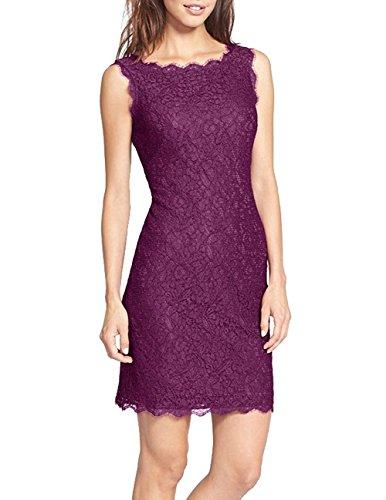 AS503anakla Fashion Women's Full Zip Lace Dress Short Sleeveless (US12, Purple) (Quirky Fancy Dress Ideas)