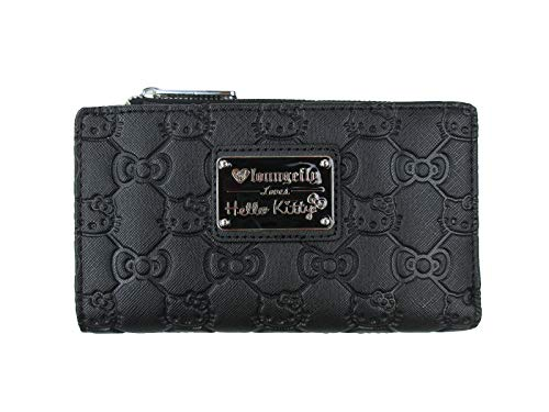 Loungefly Hello Kitty Bow Quilted Bifold Wallet (Black, One Size)