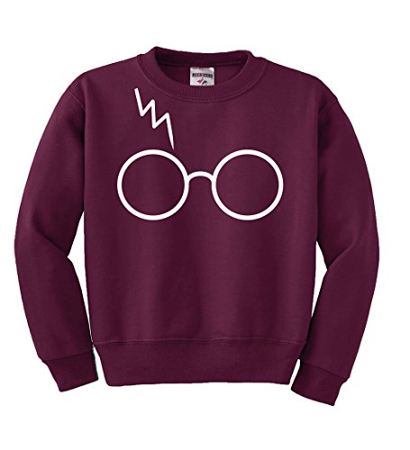 Wild Bobby White Glasses With Lightning Bolt Scar | Harry Potter | Kids Unisex Pop Culture Crewneck Graphic Sweatshirt, Maroon, - Styles Harry Glasses With