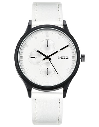 Watches for Men Casual with Decorative Dials White Leather Strap Fashion Business Watch from WUTAN