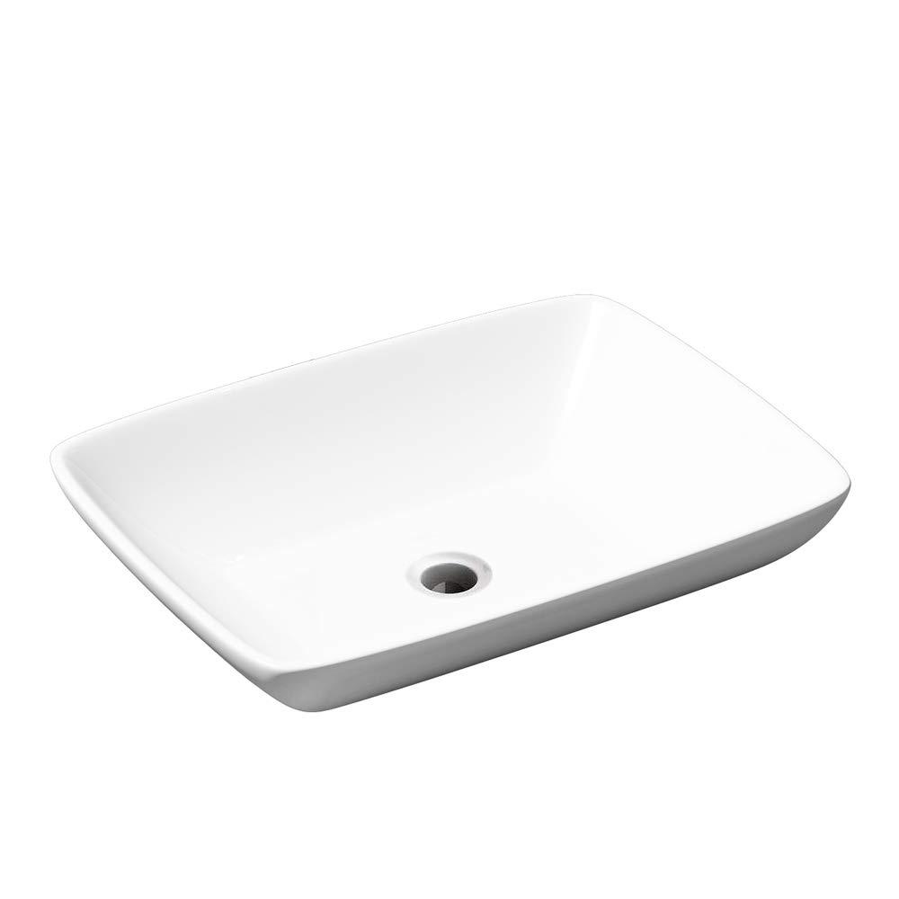 Durovin Bathrooms Ceramic Wash Basin | Counter Top Mounted Rectangular Vessel Sink | 590 x 430mm (WxD)