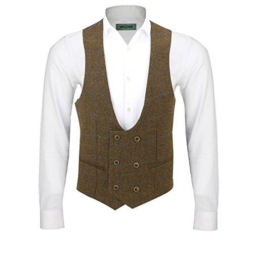 À Waistcoat oak Homme De Avec En Combinaison Tweed Brown Carreaux u Pièces Motif Pour Neck 3 g6xBPwz