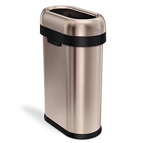 simplehuman Slim Open Top Trash Can, Commercial Grade, Heavy Gauge Rose Gold Stainless Steel, 50 L / 13 (Ada Compliant Rose)