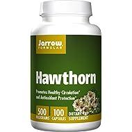 Jarrow Formulas Hawthorn, Promotes Healthy Circulation and Antioxidant Protection, 500mg, 100 Caps