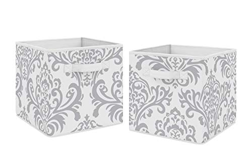 Sweet Jojo Designs Gray and White Damask Organizer Storage Bins for Skylar Collection - Set of 2