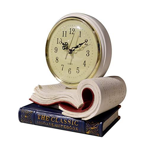 LCB Desk Clock Retro Mute Home European Clock Living Room Creative Classical Antique Table Clock (Color : White, Size : 20.51813CM)