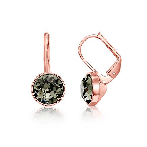 MYJS Bella Earrings w/ 2 Carat Swarovski Black Diamond Crystals Rose Gold Plated