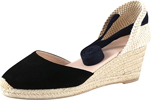 U-lite Women's Summer Leather Innersole Wedges Shoes, Ankle-Wrap Pompom Sandals Black6.5